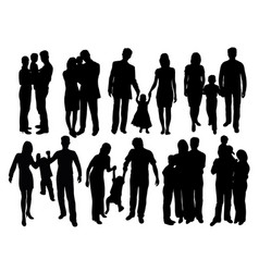 happy and cool family silhouettes vector image vector image