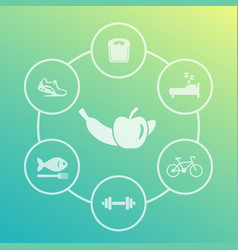 healthy lifestyle icons set diet sleeping fitness vector image vector image