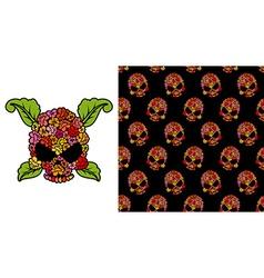 Jolly roger of roses flower skull pattern skulls vector