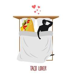 Lover taco Love to Mexican food Fastfood and man vector image