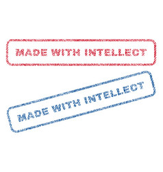 Made with intellect textile stamps vector