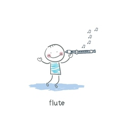 Man plays the flute vector image vector image