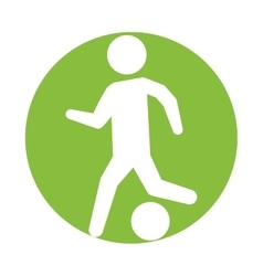 Man silhouette player soccer green circle vector