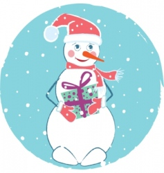 merry christmas card with snowman vector image vector image