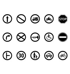 road sign icons set vector image vector image