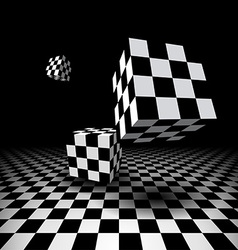 Room with checkered cubes vector