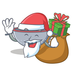 Santa with gift colander utensil character cartoon vector