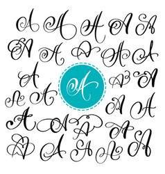 set of hand drawn calligraphy letter a vector image vector image