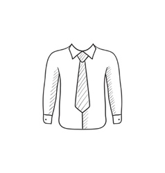 Shirt with tie sketch icon vector image vector image