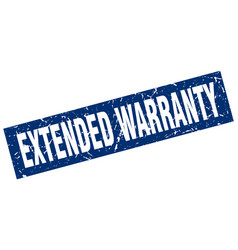 Square grunge blue extended warranty stamp vector