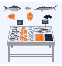 Supermarket shelves with fresh fish vector