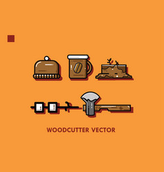Woodcutter set vector