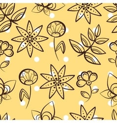 Yellow Seamless Pattern Magic Flowers vector image vector image