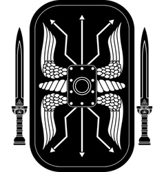 Fantasy roman shield and swords vector
