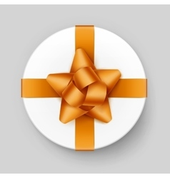 White Gift Box with Yellow Golden Bow and Ribbon vector image