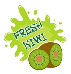 Fresh kiwi splash icon logo sticker fruit vector