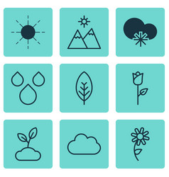 set of 9 harmony icons includes plant landscape vector image