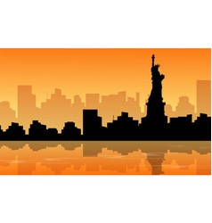 Silhouette of liberty statue scenery vector