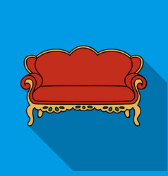 Vintage sofa icon in flat style isolated on white vector