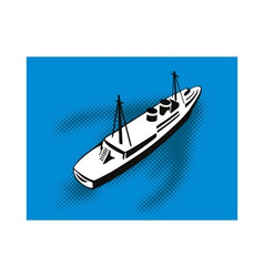Passenger cargo ship aerial view vector