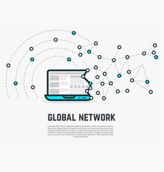 web network laptop vector image
