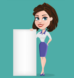 Beautiful business woman with blank placard vector