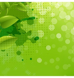 Green nature background with blur blob and leaf vector