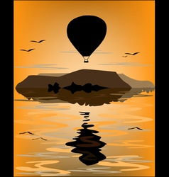 Reflection balloon at sea vector