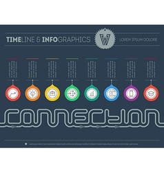 Infographic timeline about connection with 8 parts vector
