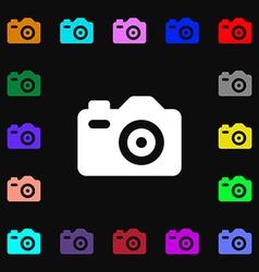 Photo Camera icon sign Lots of colorful symbols vector image