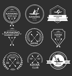 Set of different logotype templates for kayaking vector