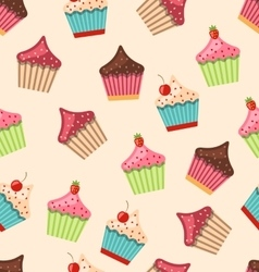 Seamless pattern with different muffins vector