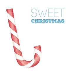 Christmas card with watercolor candy cane vector