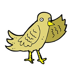 Comic cartoon waving bird vector