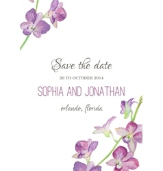 Wedding invitation watercolor with orchid flowers vector
