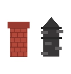 Two old red brown brick chimney roof architecture vector image