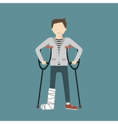 Man with broken leg vector