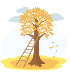 Autumn tree with yellowed leaves and stairs vector image vector image