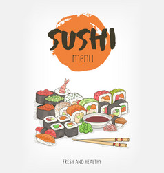 beautiful template for restaurant menu of japanese vector image