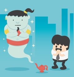 Business man with giant in magic lamp vector image vector image