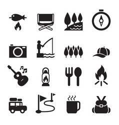 Camping icon set 2 vector