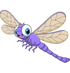 Cartoon funny dragonfly isolated vector