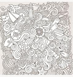 Cartoon hand-drawn doodles nautical marine vector
