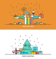 Christmas line design vector image
