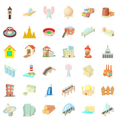 City construction icons set cartoon style vector