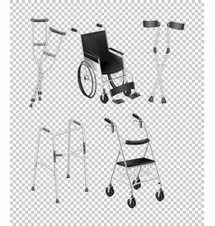 Different kinds of handicap equipments vector