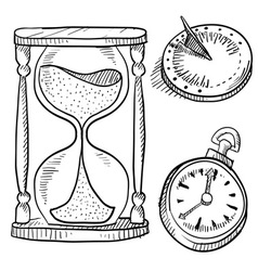 Doodle time hourglass pocketwatch clock sundial vector