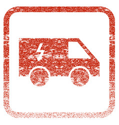 Electrical car framed textured icon vector