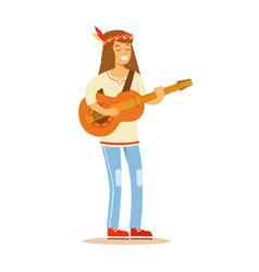 guy hippie dressed in classic woodstock sixties vector image vector image