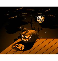 halloween pumpkin with burning eyes vector image